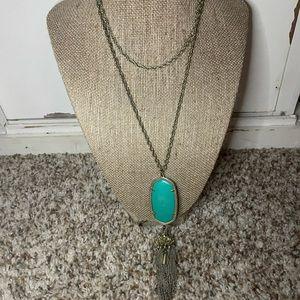 Kendra Scott Rayne Necaklce Emerald Stone